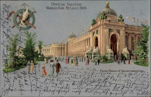 Litho St Louis Missouri USA, World's Fair 1904, Corner Palace of Varied Industries, Besucher