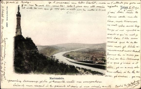 Ak Trier in Rheinland Pfalz, Mariensäule mit Umgebung