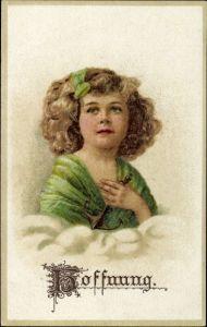 Präge Litho Hoffnung, Allegorie, Mädchen mit Anker