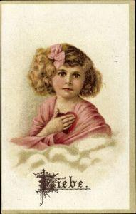 Präge Litho Liebe, Allegorie, Mädchen mit Herz