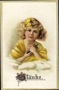 Präge Litho Glaube, Allegorie, Mädchen mit Kreuz