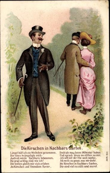 Präge Litho Die Kirschen in Nachbars Garten, Paar beim Spaziergang, Mann mit Zigarette