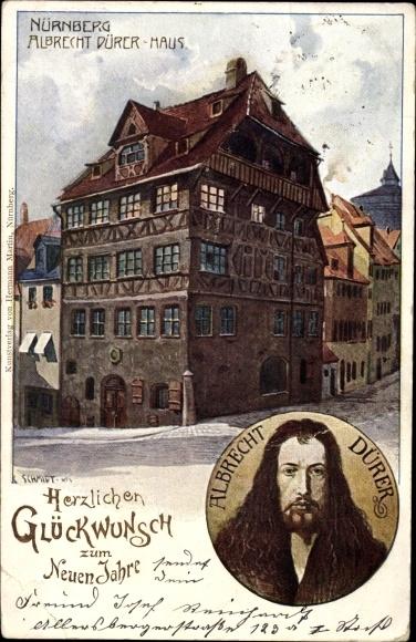 Künstler Ak Schmidt, Nürnberg in Mittelfranken Bayern, Albrecht Dürer Haus, Portrait von A. Dürer