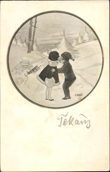 Künstler Ak Tekauz, Anny, Junge und Mädchen küssen sich, Geschenke, Schlitten