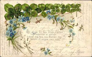 Präge Litho Kleeblätter, Vergissmeinnicht, Libelle, Ich sende Dir das Glück, Kitsch