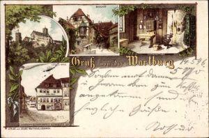 Litho Lutherstadt Eisenach in Thüringen, Wartburg, Burghof, Lutherstube, Lutherhaus