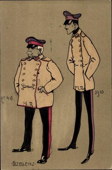 Litho Exzellenz, Kleiner dicker und großer dünner Soldat in Uniform, Offiziere