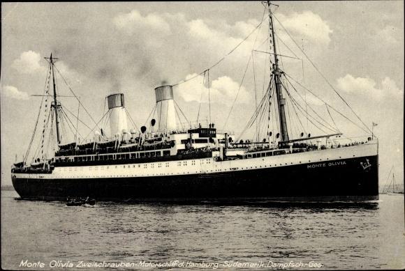 Ak Dampfschiff Monte Olivia, HSDG, Ansicht Steuerbord, Zweischraubenmotorschiff