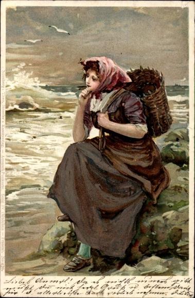 Litho Frau mit Rückentrage und Kopftuch auf einem Stein am Meer sitzend, Stroefer 430