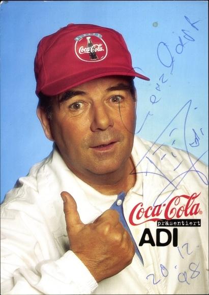 Ak Reklame für Coca Cola, Adi, Portrait, Autogramm