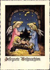 Ak Glückwunsch Weihnachten, Zwei Engel neben der Krippe mit Jesuskind, Sternschnuppe