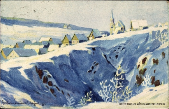 Künstler Ak Sachse Schubert, W., Altenberg im Osterzgebirge, Panorama vom Ort im Winter