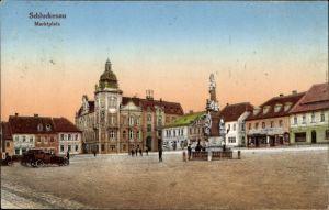 Ak Šluknov Schluckenau Region Aussig, Marktplatz mit Rathaus, Denkmal, Atelier Karl Meiser