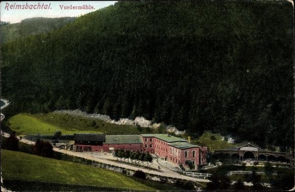 Ak Rybnica Leśna Reimswaldau in Schlesien, Vordermühle im Reimsbachtal