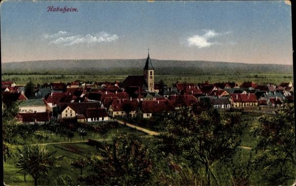 Ak Habsheim Elsass Haut Rhin, Gesamtansicht des Ortes, Umgebung