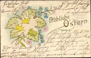 Präge Litho Glückwunsch Ostern, Küken auf einem Blatt, Frosch, Blumen
