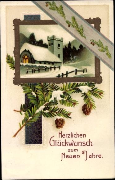Präge Litho Glückwunsch Neujahr, Kirche im Schnee, Tannenzweige, Zapfen