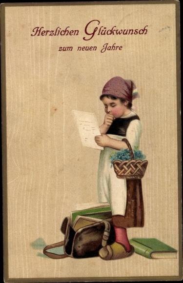 Präge Litho Glückwunsch Neujahr, Mädchen mit Schultasche, Bücher, Korb