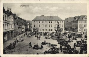 Ak Erlangen in Mittelfranken Bayern, Marktleben auf dem Platz