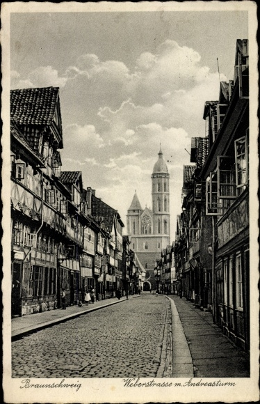 Ak Braunschweig in Niedersachsen, Blick in die Weberstraße, Andreasturm