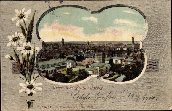 Passepartout Ak Braunschweig in Niedersachsen, Panoramablick über die Stadt