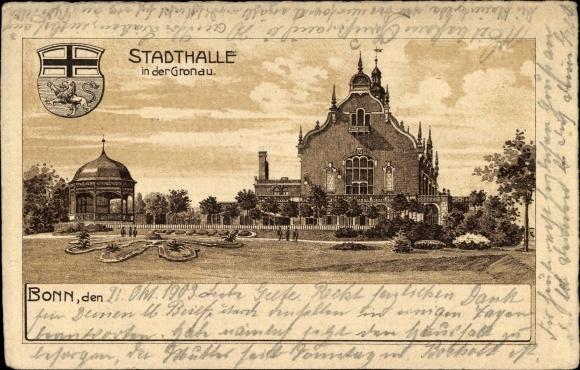 Litho Bonn in Nordrhein Westfalen, Stadthalle in der Gronau, Gartenansicht, Wappen