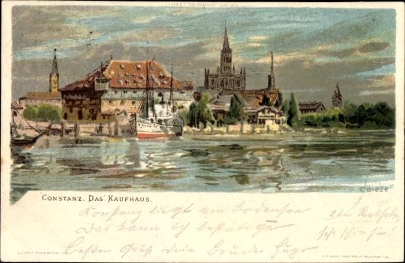 Künstler Litho Biese, C., Konstanz am Bodensee, Blick vom Wasser auf das Kaufhaus