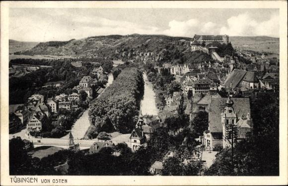 Ak Tübingen am Neckar Baden Württemberg, Blick auf den Ort von Osten aus