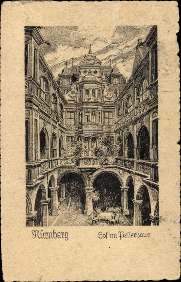 Künstler Ak Nürnberg in Mittelfranken Bayern, Hof im Pellerhaus