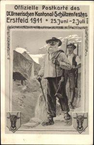 Künstler Ak Erstfeld Kt. Uri Schweiz, IX. Urnerisches Kantonal Schützenfest 25. Juni - 02. Juli 1911