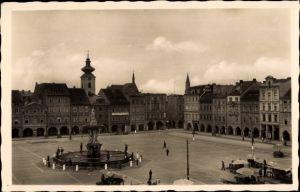 Ak Budweis České Budějovice Südböhmen Tschechien, Marktplatz, Fontäne, Namesti