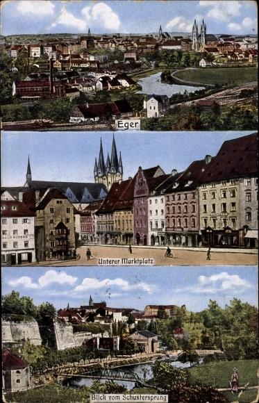 Ak Cheb Eger Reg. Karlsbad, Teilansichten, Unterer Marktplatz, Blick vom Schustersprung