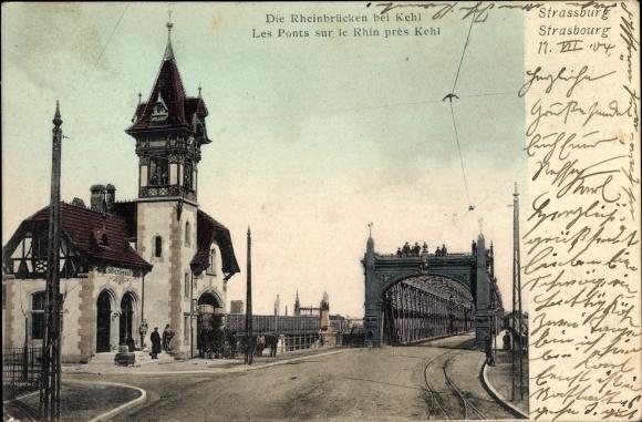 Ak Strasbourg Straßburg Elsass Bas Rhin, Rheinbrücken bei Kehl, Ponts sur le Rhin