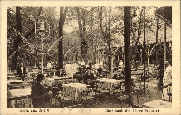 Ak Berlin Tiergarten, Ausschank der Löwen Brauerei, Zelt 3, Terrasse