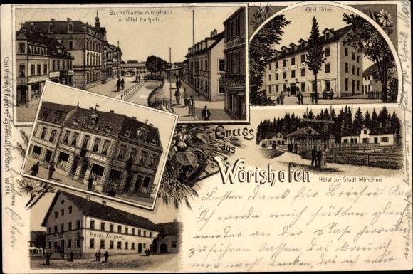 Litho Bad Wörishofen im schwäbischen Kreis Unterallgäu, Stadtansichten, Bachstraße, Hotel