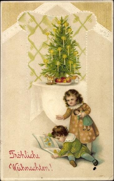 Bilderbuch Tannenbaum.Präge Ak Frohe Weihnachten Zwei Kinder Am Tannenbaum Puppe Bilderbuch