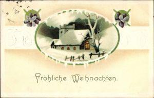 Präge Litho Glückwunsch Weihnachten, Veilchenblüten, verschneite Kirche