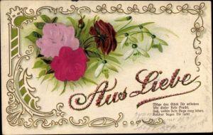 Material Präge Litho Aus Liebe, Möge das Glück Dir erstehen wie dieser Rose Pracht, Schneeglöckchen