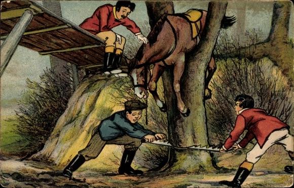 Künstler Ak Pferd hängt auf einem Baum fest, Männer sägen Baum ab