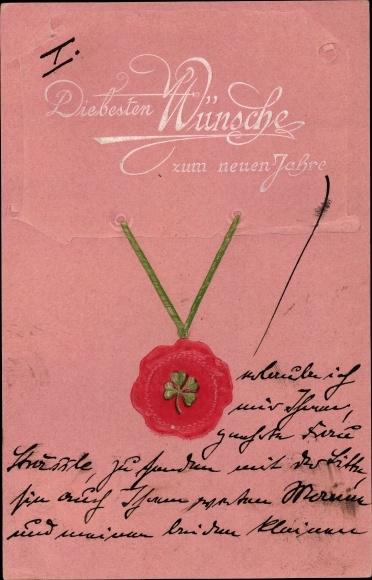 Präge Litho Glückwunsch Neujahr, Siegel mit Kleeblatt an einem grünen Band