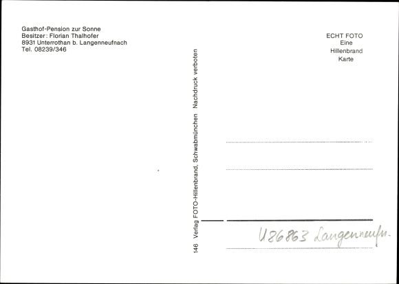 Landkreis Augsburg Karte.Ak Unterrothan Langenneufnach Im Landkreis Augsburg Gasthof Pension Zur Sonne Bes F Thalhofer