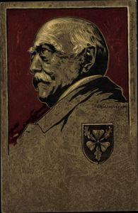 Künstler Wappen Litho Schellenberger, Otto von Bismarck, Herzog zu Lauenburg, Bundeskanzler,Portrait