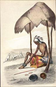 Künstler Ak Alter Indianer, von seinem Stamm verlassen und dem Untergang preisgegeben, Wölfe