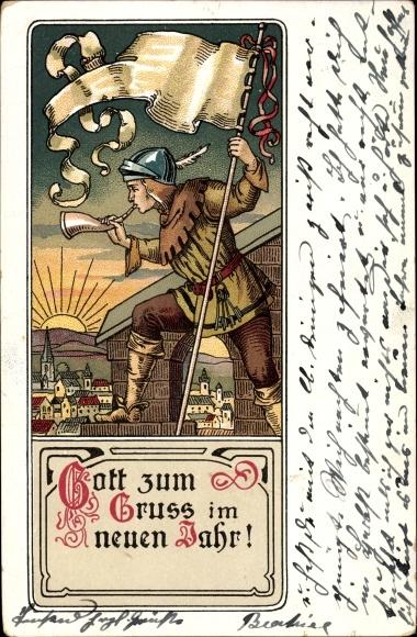 Litho Glückwunsch Neujahr, Gott zum Gruß im neuen Jahr, Herold bläst ...