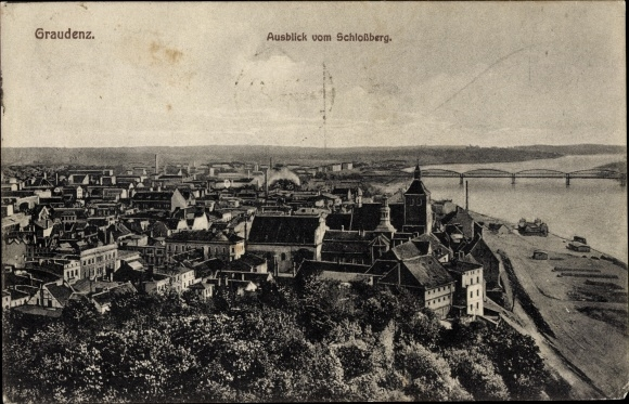 Ak Grudziądz Graudenz Westpreußen Tschechien, Ausblick vom Schloßberg
