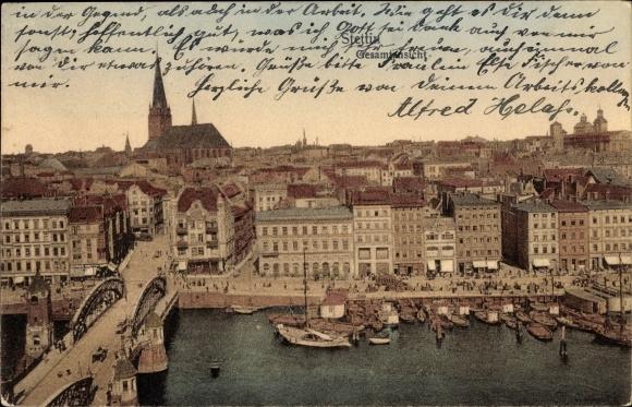 Ak Szczecin Stettin Pommern, Panorama von der Ortschaft