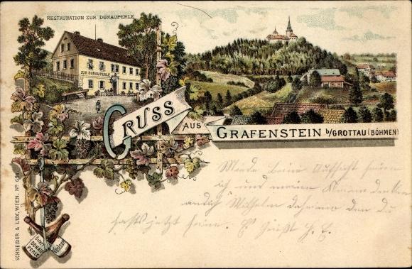 Litho Grabštejn Grafenstein Chotyně Ketten Reg. Reichenberg, Restauration zur Donauperle