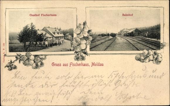Ak Moldava Moldau Reg. Aussig, Gasthof Fischerhaus, Bahnhof