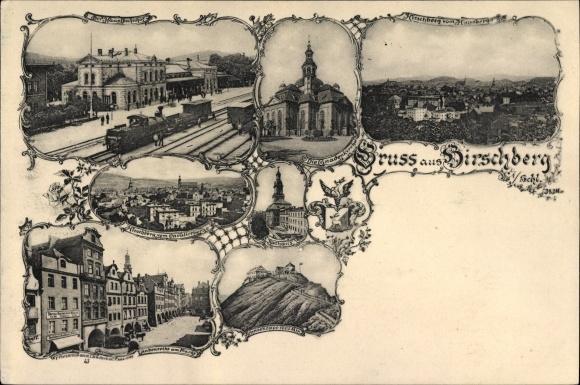Ak Jelenia Góra Hirschberg Riesengebirge, Bahnhof, Gnadenkirche, Rathaus, Laubenreihe am Markt