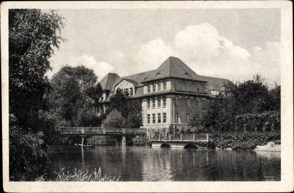 Ak Kehl am Rhein Ortenaukreis Baden Württemberg, Flusspartie an der Falkenhausen Schule